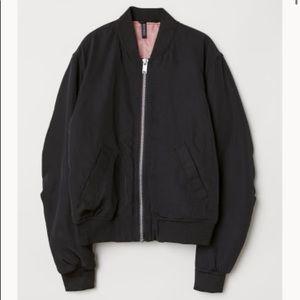 H&M Padded Bomber Jacket Black Size 8